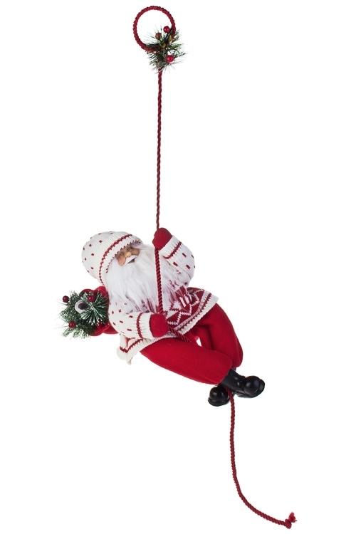 Украшение новогоднее Дед Мороз с елочкой на веревкеКуклы<br>Выс=33см, текстиль, пластм., красно-белое<br>