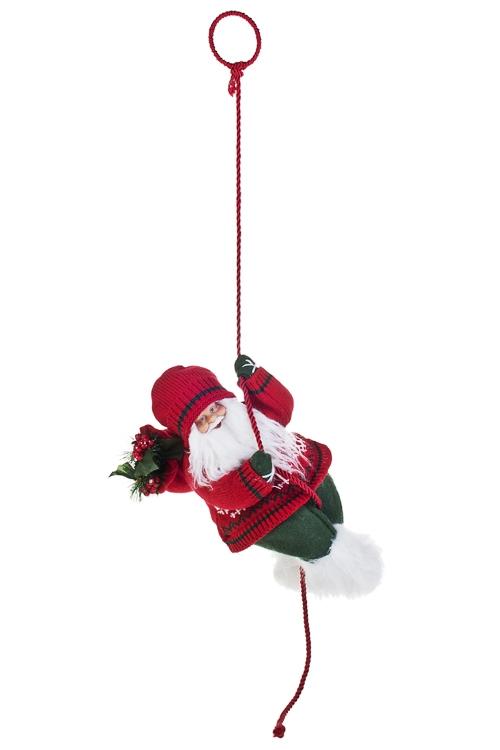 Украшение новогоднее Дед Мороз с елочкой на веревкеКуклы<br>Выс=31см, текстиль, пластм., бело-красно-зеленое<br>