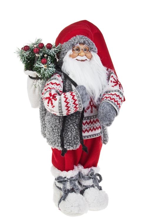 Украшение новогоднее Дед Мороз с елочкой в мешкеКуклы<br>Выс=47см, текстиль, пластм., бело-красно-серое<br>