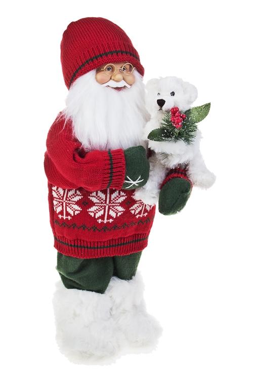 Украшение новогоднее Дед Мороз с мишуткойКуклы<br>Выс=47см, текстиль, пластм., бело-красно-зеленое<br>
