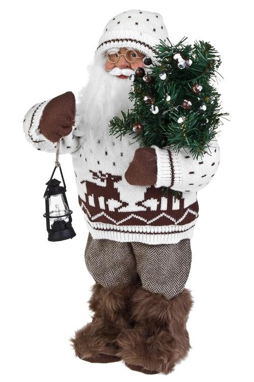 Украшение новогоднее Дед Мороз с елочкой и фонарикомДеды Морозы и новогодние куклы<br>Выс=36см, текстиль, пластм., бело-коричн.<br>