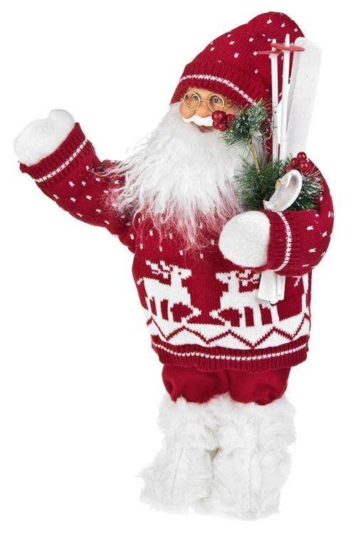 Украшение новогоднее Дед Мороз с лыжамиДеды Морозы и новогодние куклы<br>Выс=36см, текстиль, пластм., красно-белое<br>