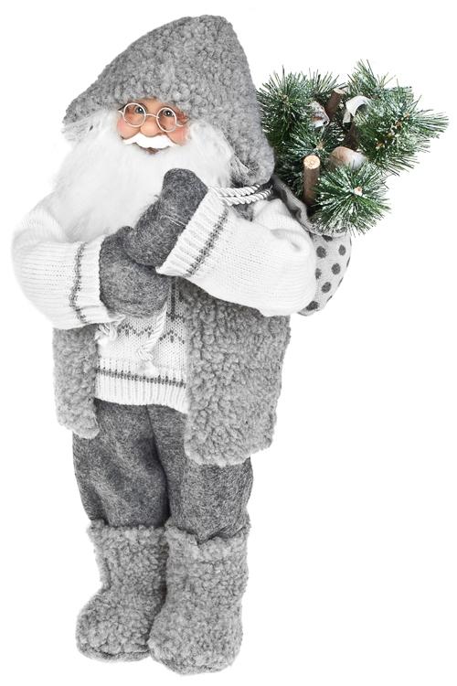 Украшение новогоднее Дед Мороз с елочкой в мешкеДеды Морозы и новогодние куклы<br>Выс=36см, текстиль, пластм., бело-серое<br>