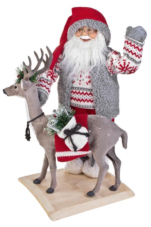 """Украшение новогоднее """"Дед Мороз с оленем"""""""