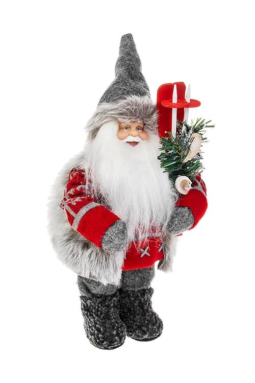 Украшение новогоднее Дед Мороз с лыжами и елочкойПодарки на Новый год 2018<br>Выс=36см, текстиль, пластм., серо-красно-белое<br>