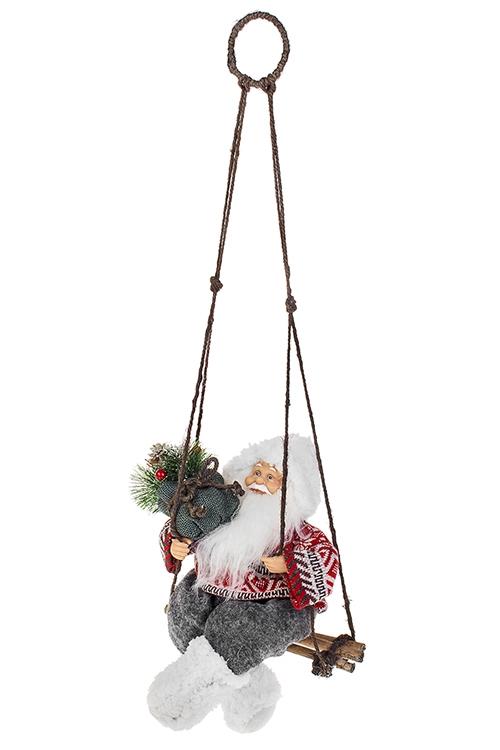 Украшение новогоднее Дед Мороз с елочкой на качеляхПодарки на Новый год 2018<br>Выс=36см, текстиль, пластм., красно-бело-серое<br>
