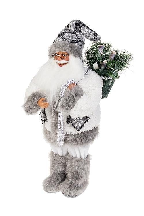 Украшение новогоднее Дед Мороз с елочкойПодарки на Новый год 2018<br>Выс=50см, текстиль, пластм., бело-серое<br>