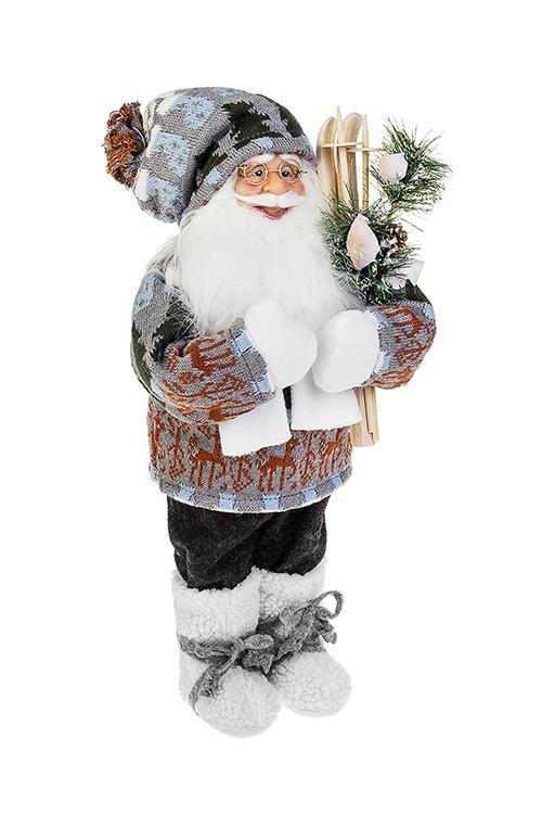 Украшение новогоднее Дед Мороз с лыжами и елочкойРождественские украшения<br>Выс=47см, текстиль, пластм., серо-бело-голубое<br>