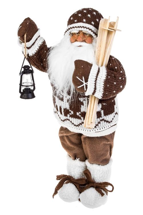 Украшение новогоднее Дед Мороз с лыжами и фонарикомРождественские украшения<br>Выс=47см, текстиль, пластм., коричн.-белое<br>
