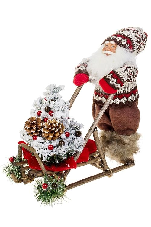 Украшение новогоднее светящееся Дед Мороз на санкахПодарки на Новый год 2018<br>32*33см, текстиль, пластм., коричн.-крем., на батар<br>
