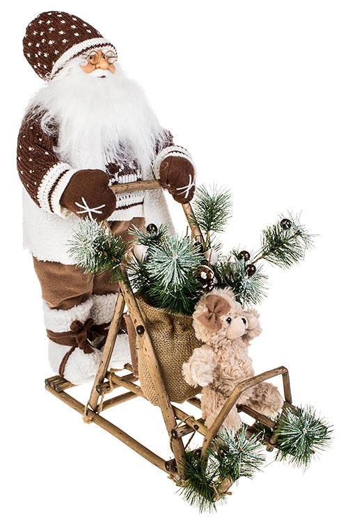 Украшение новогоднее светящееся Дед Мороз на санках с мишкойРождественские украшения<br>40*50, текстиль, пластм., бело-корич., на батар.<br>