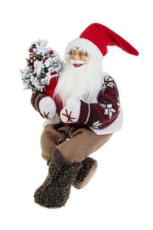 Украшение новогоднее Дед Мороз с елочкойИгрушки и куклы<br>Выс=40см, текстиль, пластм., бело-коричн.-красное<br>