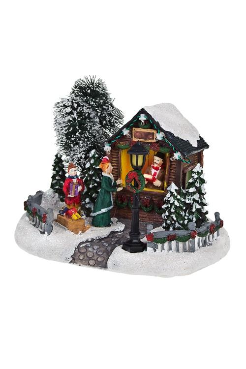 Украшение новогоднее светящееся Магазин подарковНовогодние сувениры<br>20*12*15см, полирезин, на батар.<br>