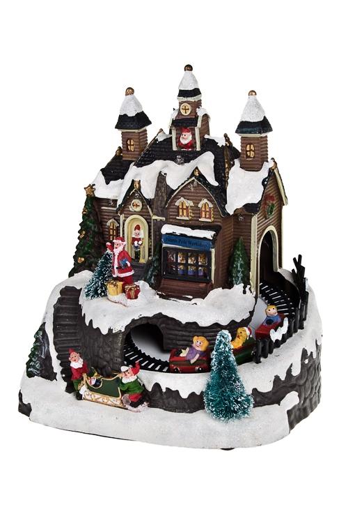 Украшение новогоднее светящ., музык. и двигающ. Дом Деда МорозаНовогодние сувениры<br>Музык. и двигающ. Дом Деда Мороза, 19*15*22см, пластм., на батар.<br>