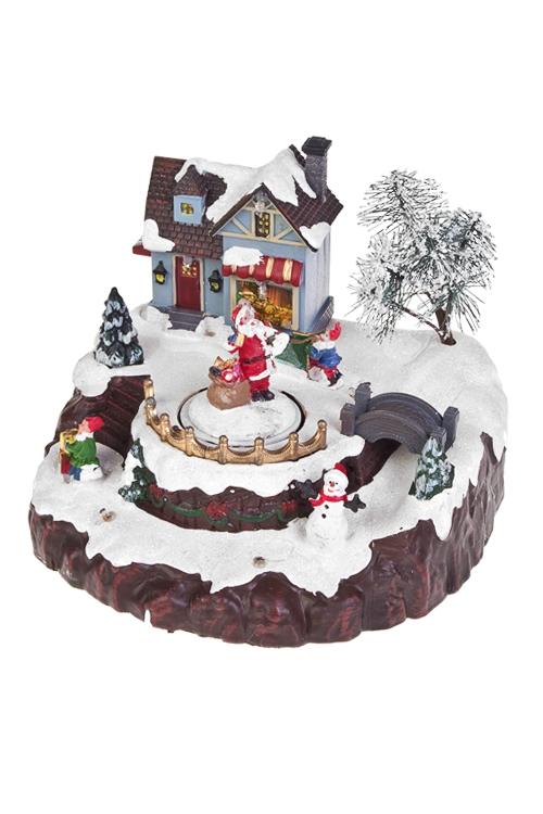 Украшение новогоднее светящееся, музыкальное и двигающееся Мастерская Деда МорозаРазвлечения и вечеринки<br>Музыкальное и двигающееся Мастерская Деда Мороза, 20*19*15см, пластм., на батар.<br>