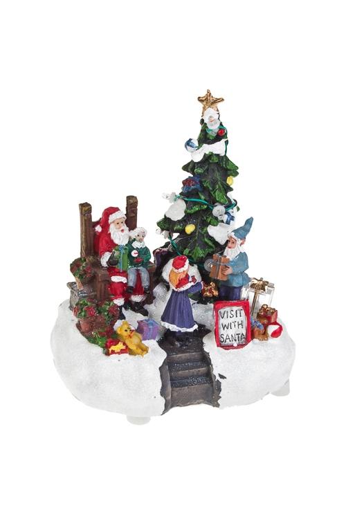 Украшение новогоднее светящееся В гостях у Санта-КлаусаСветящиеся украшения<br>11*9*14см, полирезин, на батар.<br>