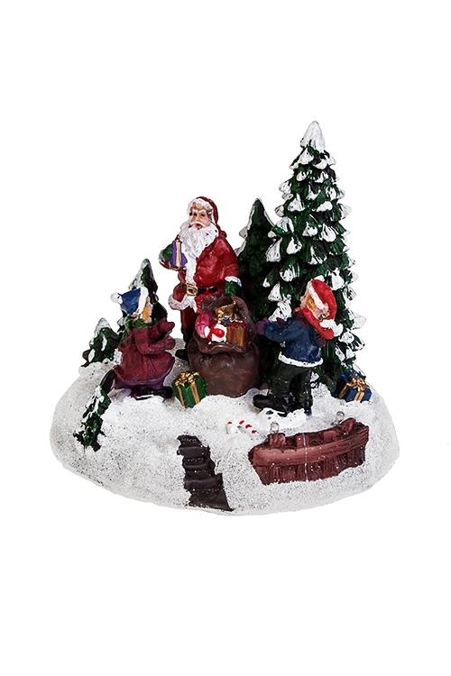 Украшение новогоднее светящееся Дед Мороз с мешком подарков у елкиРождественские украшения<br>13*11*12см, полирезин, на батарейках.<br>