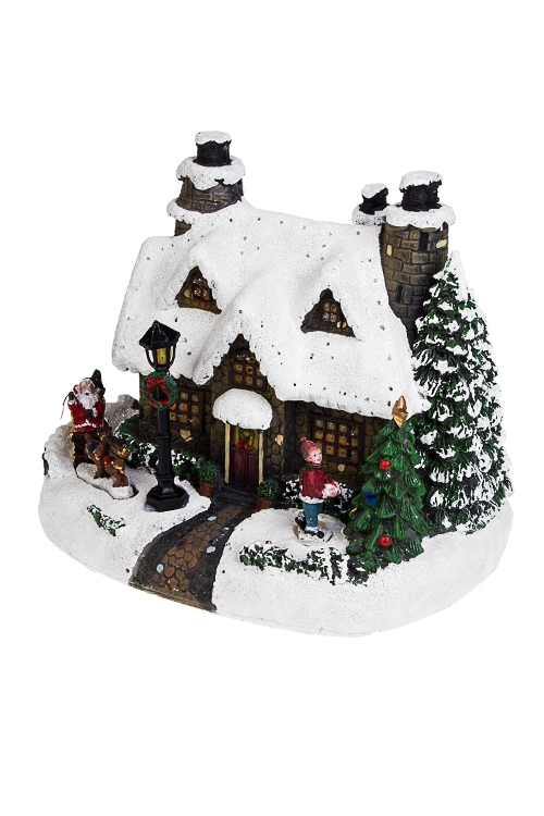 Украшение новогоднее светящееся Сказочный домикРождественские украшения<br>24*17*19см, полирезин, на батарейках.<br>