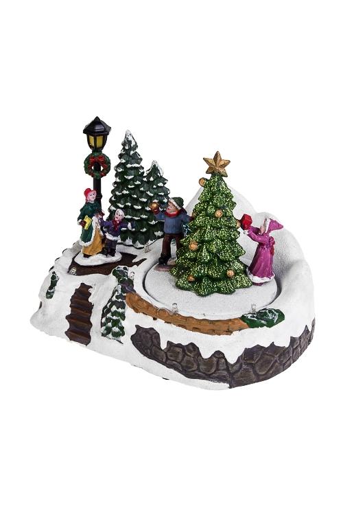 Украшение новогоднее светящееся, музыкальное и двигающееся Дети у елкиРождественские украшения<br>17*12*14см, полирезин, на батарейка.<br>