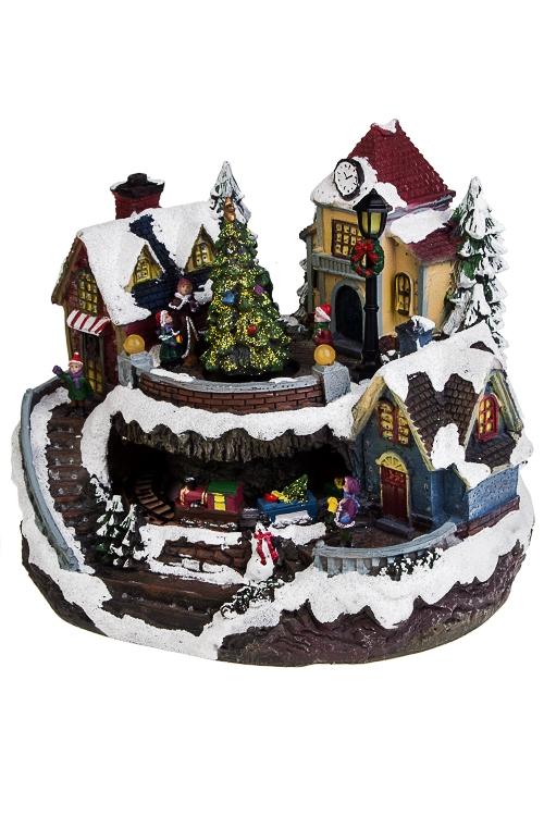 Украшение новогоднее светящееся, музыкальное и двигающееся Зимние забавыРождественские украшения<br>26*22*21см, полирезин, на батарейках.<br>