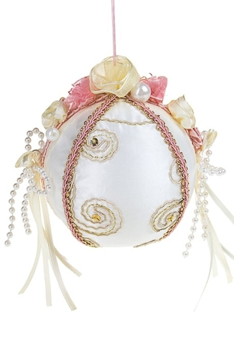 Украшение елочное Пастельный шарПодарки<br>Д=9см, текстиль, пенопласт, крем.-розовое, подвесное (2 вида)<br>