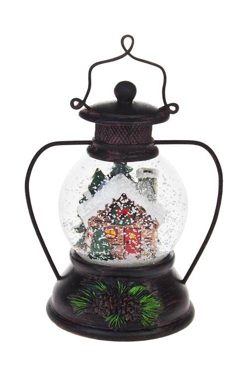 Украшения для интерьера музыкальное Лампа-Домик в снегуНовогодние сувениры<br>Выс=14.5см, полирезин, стекло<br>