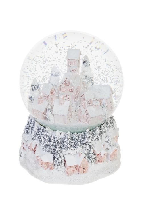 Украшения для интерьера музыкальное Шар-Зимний городШары со снегом<br>Выс=12см, полирезин, стекло<br>