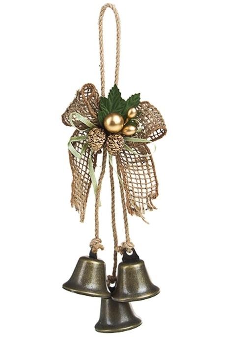 Украшение новогоднее Перелив колокольчиковПодарки<br>Выс=18см, металл, пластм., зелено-золот., подвесное<br>