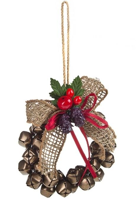 Украшение новогоднее Венок из колокольчиковЕлочные игрушки<br>Д=12см, металл, пластм., зелено-золот., подвесное<br>