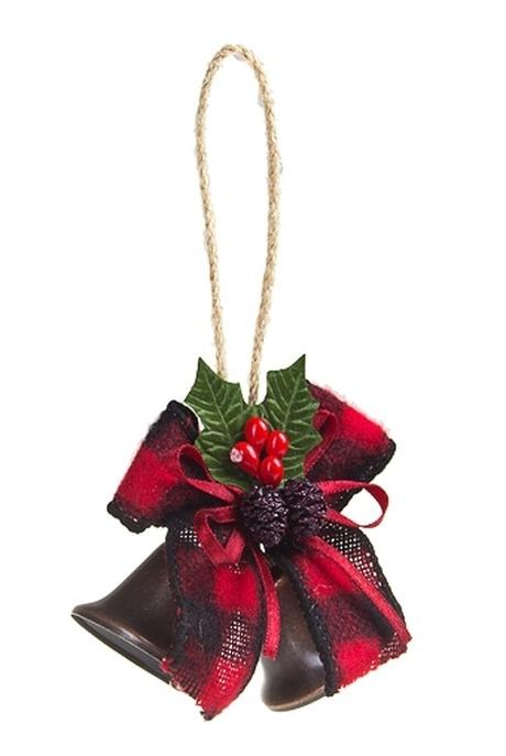 Украшение новогоднее Рождественские бубенцыПодарки<br>Выс=8см, металл, пластм., красно-зеленое, подвесное<br>