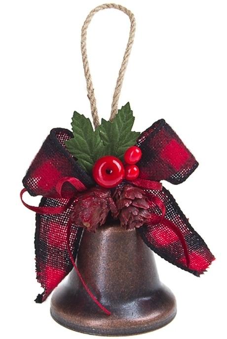 Украшение новогоднее КолокольчикЕлочные игрушки<br>Выс=10см, металл, пластм., красно-зеленое, подвесное<br>