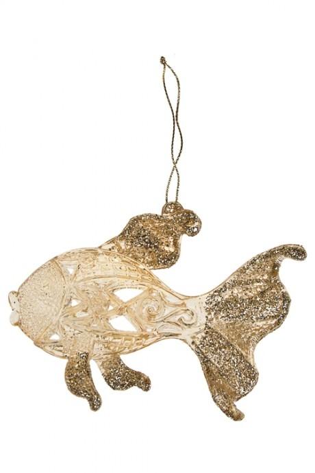 Украшение декоративное РыбкаПодарки на Новый год 2018<br>Выс=9см, пласт., золот., подвесное (2 вида)<br>