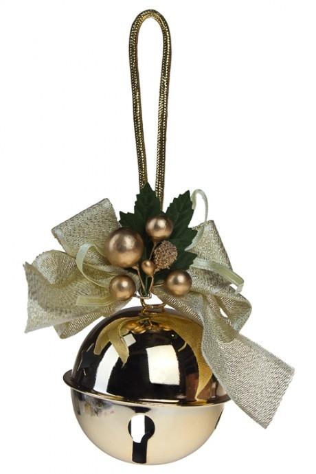 Украшение новогоднее Бубенчик с бантомПодарки<br>Выс=10см, металл, пласт., золот., подвесное<br>