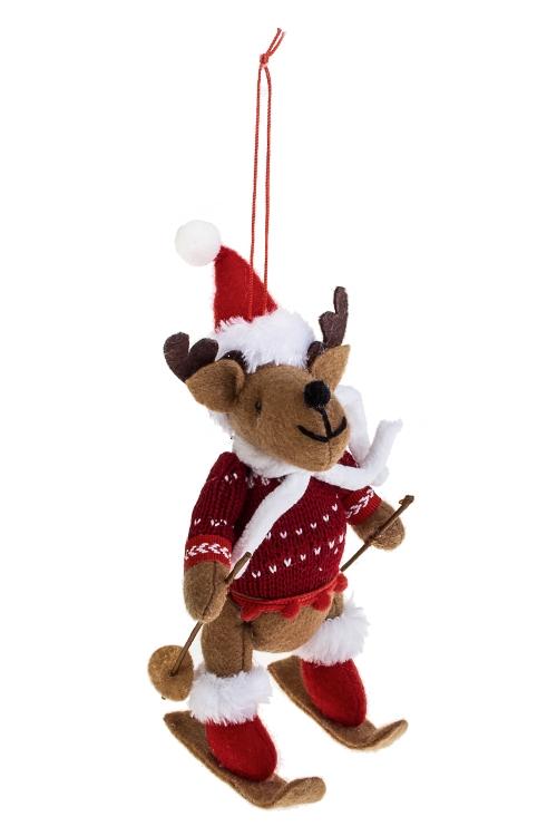Украшение новогоднее Лосик на лыжахИгрушки и куклы<br>11*19см, текстиль, подвесное (2 вида)<br>