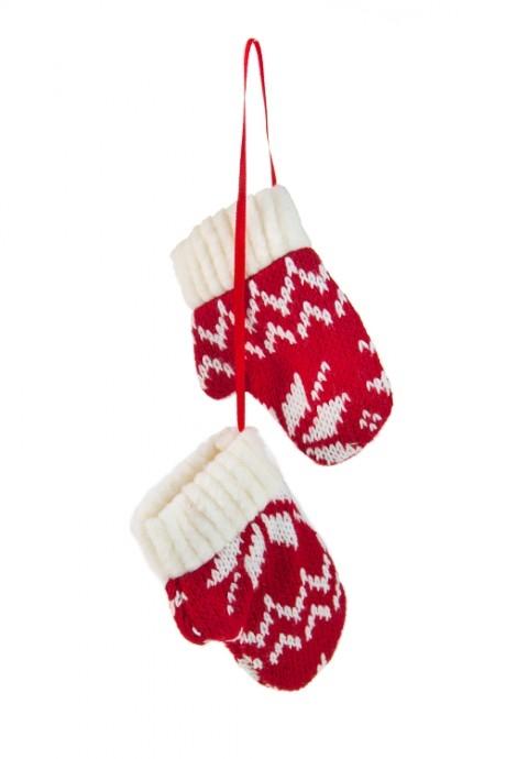 Украшение декор. Норвежские варежкиПодарки<br>7*9см, текстиль, бело-красно-черное, подвесное (2 вида)<br>