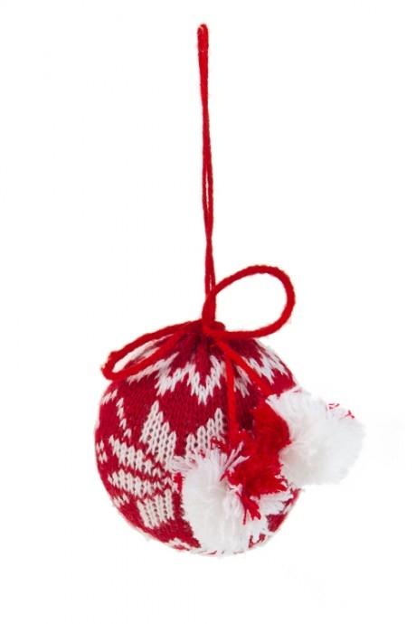 Украшение декоративн Норвежский шарД=7.5см, текстиль, красно-белое, подвесное<br>
