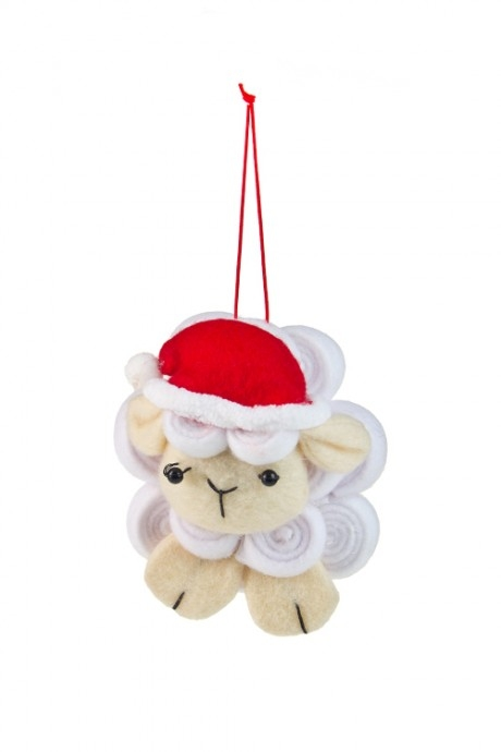 Украшение новогоднее Счастливая овечкаДекоративные гирлянды и подвески<br>Выс=10см, текстиль, бело-красно-крем., подвесное<br>