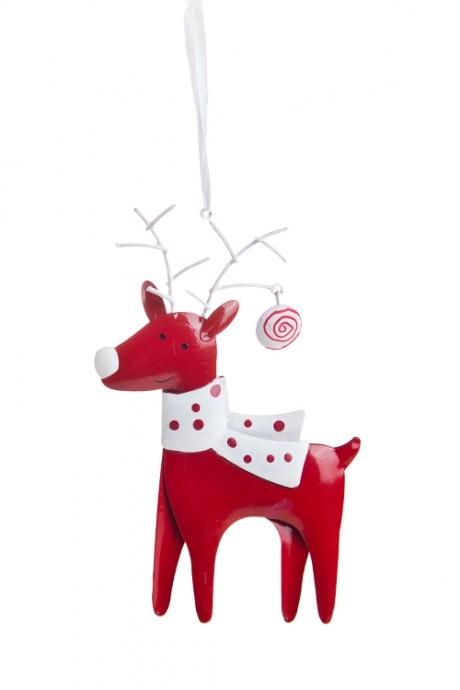 Украшение новогоднее Олень с шарфомЕлочные игрушки<br>9*15см, металл, красно-белое, подвесное (2 вида)<br>