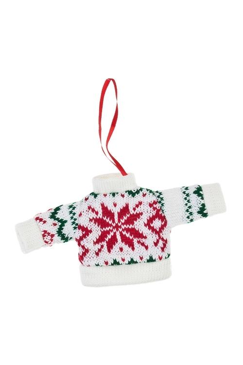 Украшение декоративное Норвежский свитерокПодарки<br>Выс=9см, текстиль, бело-красно-голубое, подвесное<br>