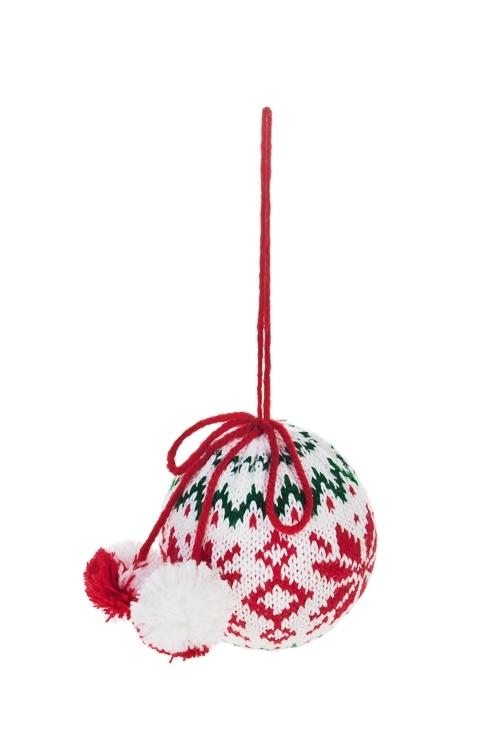 Украшение декоративное Норвежский шарПодарки<br>Д=7.5см, текстиль, бело-красно-голубое, подвесное<br>