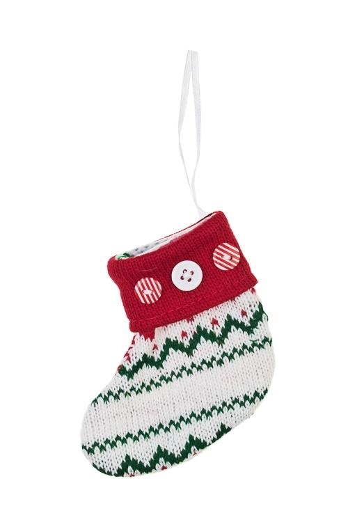 Рождественский носок НосокЕлочные игрушки<br>Выс=15см, текстиль, бело-красно-голубое, подвесное (2 вида)<br>