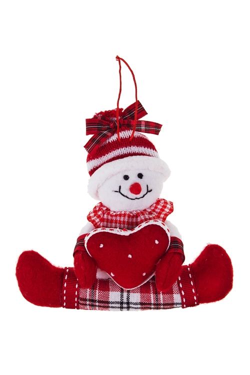 Украшение новогоднее Улыбающийся снеговикЕлочные игрушки<br>Выс=12см, текстиль, бело-красное, подвесное<br>