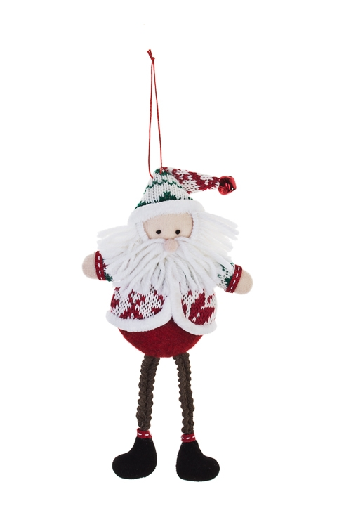 Украшение новогоднее Смешной Дед МорозПодарки<br>Выс=20см, текстиль, бело-красно-голубое, подвесное<br>