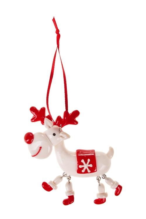 Украшение декоративное Смешной оленьЕлочные игрушки<br>Дл=10см, керам., бело-красное, подвесное<br>