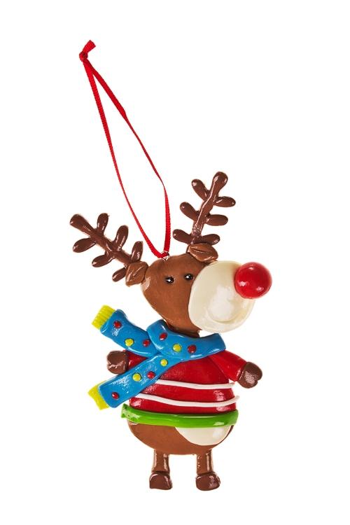 Украшение декоративное Красноносый оленьЕлочные игрушки<br>Выс=13см, керам., подвесное<br>