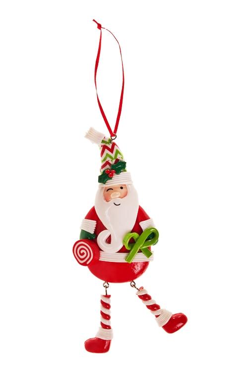 Украшение новогоднее Веселый Дед МорозЕлочные игрушки<br>Выс=17см, керам., красно-бело-зелен., подвесное<br>