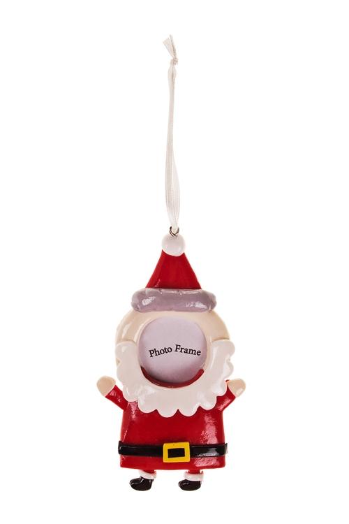 Рамка для фото Дед МорозЕлочные игрушки<br>Выс=12см, фото 4*4см, керам., красно-белая, подвесная<br>