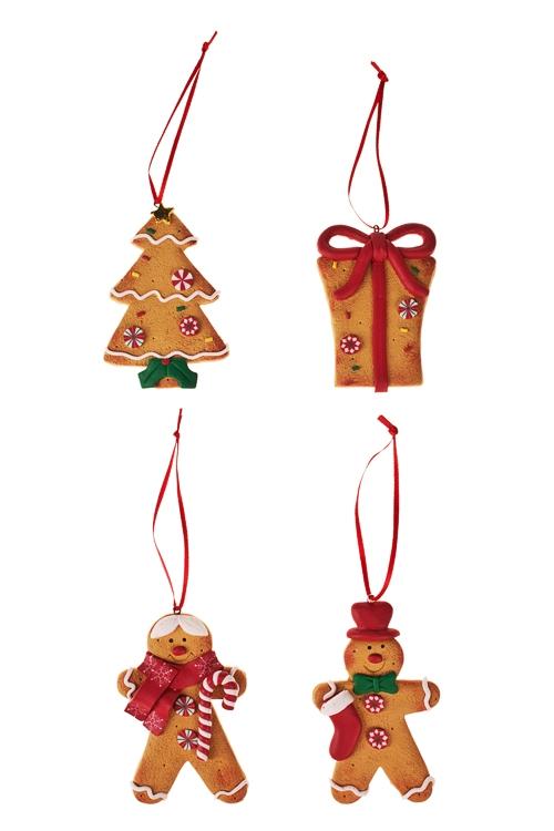 Набор украшений новогодних ПряничкиЕлочные игрушки<br>Выс=8см, керам., подвесной<br>
