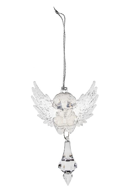 Украшение декоративное Ангел с кристалломЕлочные игрушки<br>Выс=9см, акрил, прозр., подвесное<br>