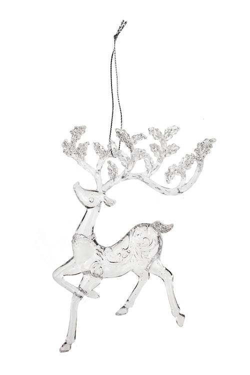 Украшение декоративное Волшебный оленьЕлочные игрушки<br>14*15см, акрил, прозр., подвесное (2 вида)<br>